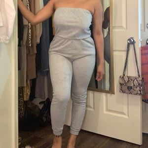 Gray Strapless Jumpsuit